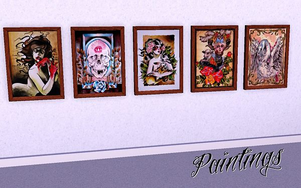 Sims 3 tattoo, paintings, wall decor