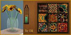 Sims 3 object, decor, decorative, curtain, set, vase, flowers, paintings