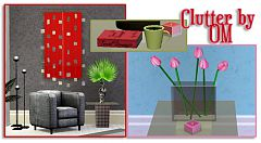 Sims 3 object, decor, decorative, clutter, set, vase, flowers, paintings, lamp