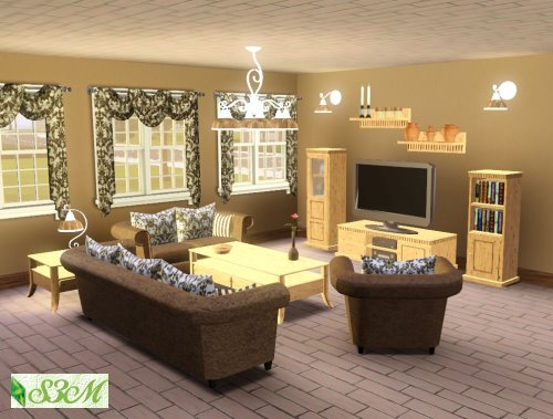 Ultra lounge living set sims 3 for Living room ideas sims 3