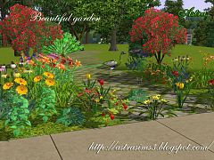Sims 3 garden, flowers, decor