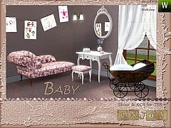 Sims 3 babyroom, kids, sidetable, stool, mirror, curtain, wallsconce