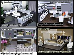 Sims 3 livingroom, kitchen, bedroom, furniture, objects, decor