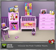 Sims 3 crib, dresser, toyshelf, highchair