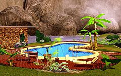 Sims 3 banana tree, pool edging, chair, lounge chair, table, bottle, plants, candles