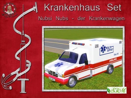 Sims 3 ambulance, car, vehicle, automobile