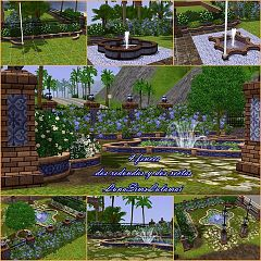 Sims 3 set, garden, build, objects