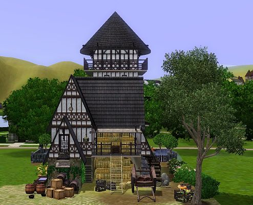 Sims 3 lot, commercial, building, medieval