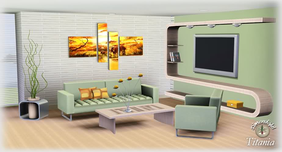 Sims 3 Updates Simcredible Designs Titania livingroom set at
